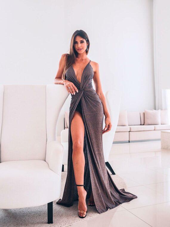 vestido longo de lurex