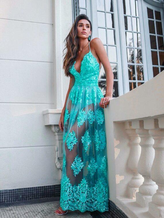 vestido longo verde tifanny splash