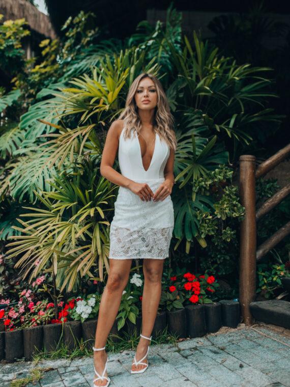 vestido branco curto max glamm 44087