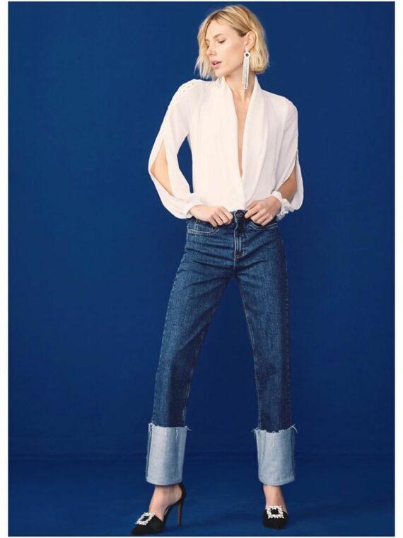 calça jeans reta bebela