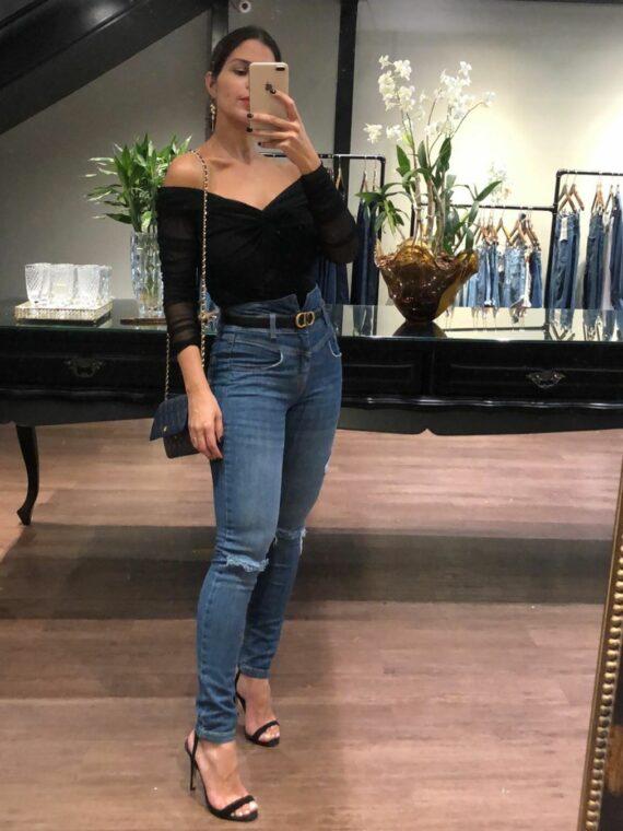 calça skinny cintura alta bebela jeans