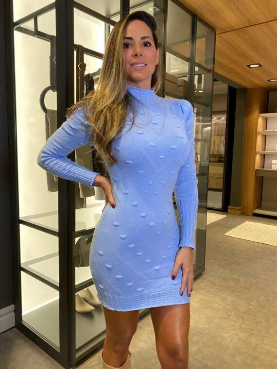vestido trico azul
