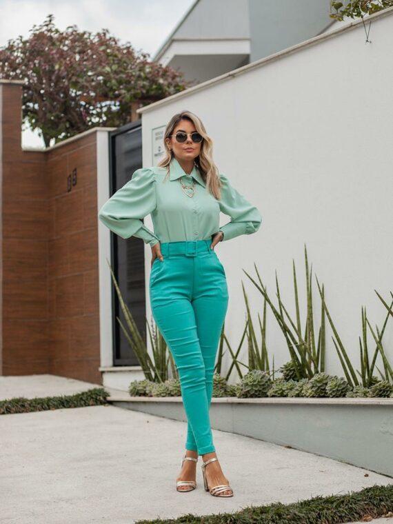 calça em bengaline verde tiffany