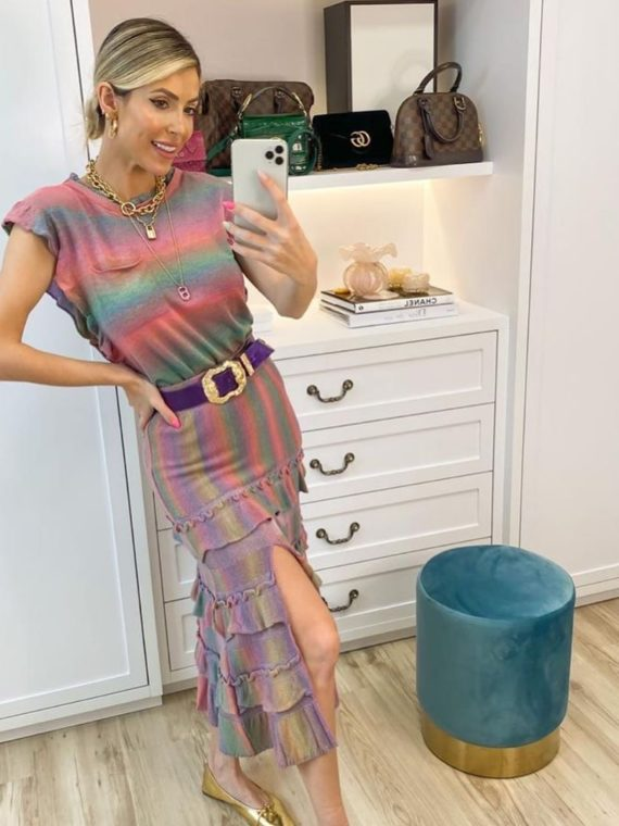 Conjunto multicolor de tricô