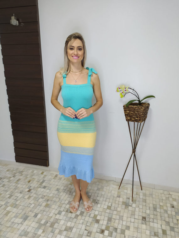 Vestido midi drapeado de tricô (2)