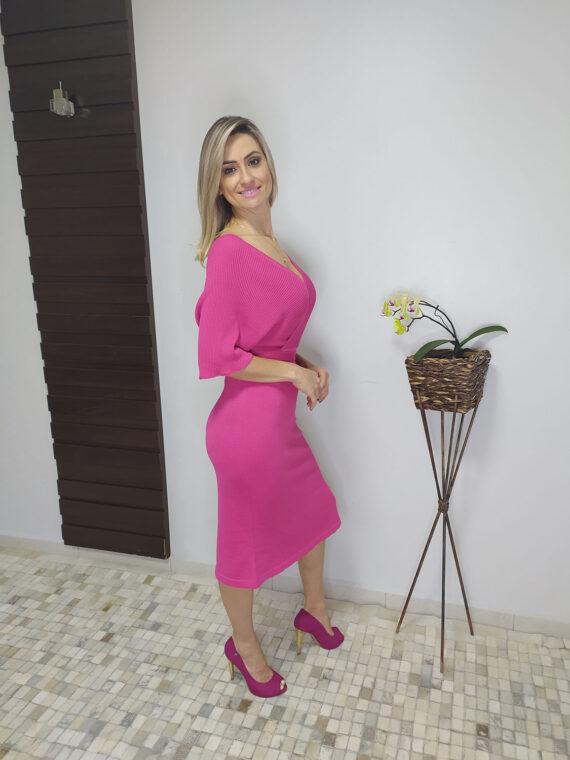 Vestido midi pink de tricô (4)
