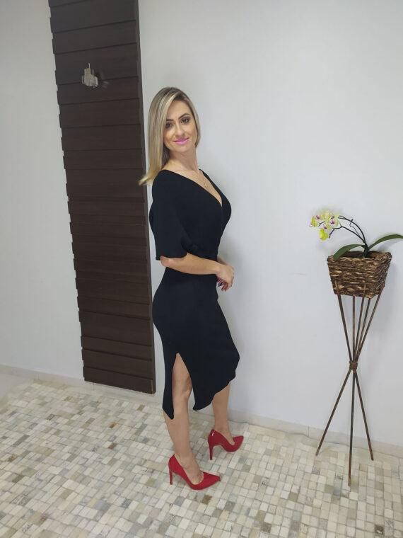 Vestido midi preto de tricô (4)