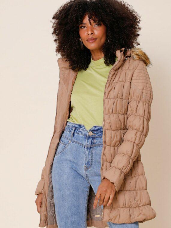 casaco nylon em matelassê