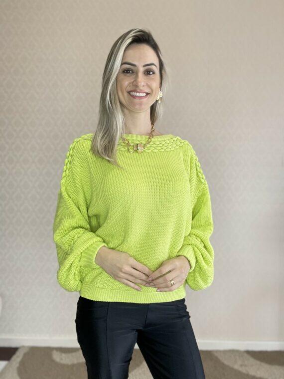 Blusa de tricô trança verde