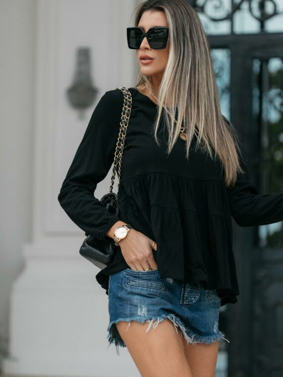 Blusa de viscose preta