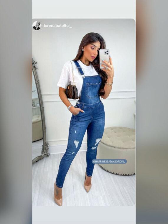 Jardineira jeans skinny